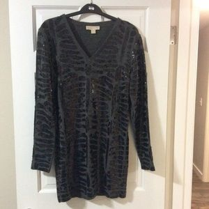 Michael Kors gray w/black sequin sweater dress